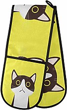 funnyy Cat Kitty Yellow Double Oven Gloves Heat