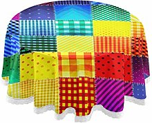 funnyy Colored Patchwork Rainbow Round Tablecloth