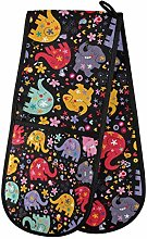 funnyy Colorful Elephants Florals Double Oven