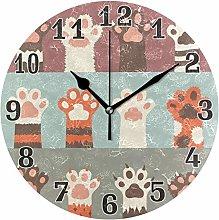 funnyy Cute Animal Cat Paw Print Round Acrylic