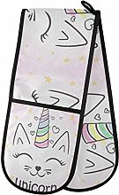 funnyy Cute Unicorn Cat Double Oven Gloves Heat