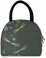 funnyy Dragonfly Flower Leave Lunch Bag for Women