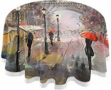 funnyy Eiffel Towel Street Round Tablecloth Table