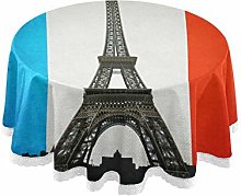funnyy Eiffel Tower French Flag Round Tablecloth