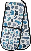 funnyy Elephants Cute Double Oven Gloves Heat