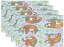 funnyy Florals Sloth Animal Placemats Set of 4