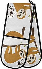 funnyy Funny Cartoon Sloth Double Oven Gloves Heat