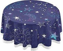 funnyy Galaxy Constellatio Stars Round Tablecloth