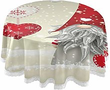funnyy Gnome Folklore Elves Round Tablecloth