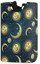 funnyy Gold Moon Sun Stars Laundry Basket Bag