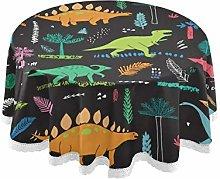 funnyy Hawaiian Dinosaurs Palm Round Tablecloth