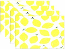 funnyy Lemons Summer Yellow Placemats Set of 4