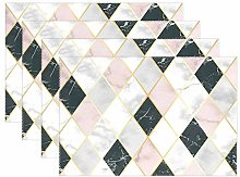 funnyy Marble Geometric Gold Glitter Placemats Set