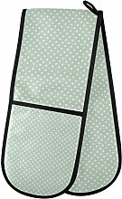 funnyy Mint Green Polka Dots Double Oven Gloves