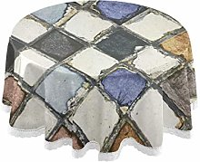 funnyy Mix Color Tiles Round Tablecloth Table