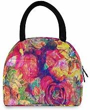 funnyy Oil Rose Flowers Lunch Bag for Women