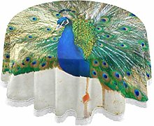 funnyy Peacock Feather Bird Round Tablecloth Table