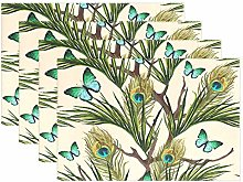 funnyy Peacock Feather Butterfly Placemats Set of