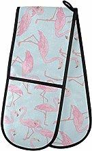 funnyy Pink Birds Flamingo Double Oven Gloves Heat