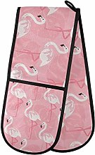 funnyy Pink Birds Flamingo Double Oven Gloves Heat