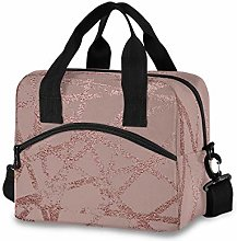 funnyy Pink Rose Marble Lunch Bags Organizer Women