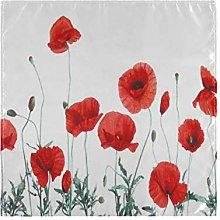 funnyy Poppy Flower Floral Cloth Napkins Washable