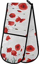 funnyy Poppy Flower Floral Double Oven Gloves Heat