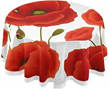 funnyy Poppy Flowers Florals Round Tablecloth