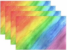 funnyy Rainbow Watercolor Colored Placemats Set of