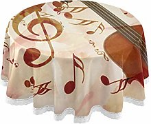 funnyy Rose Violin Music Notes Round Tablecloth