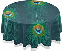 funnyy Teal Feather Peacock Round Tablecloth