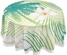funnyy Tropical Palm Tree Round Tablecloth Summer