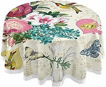 funnyy Vintage Flowers Rose Birds Round Tablecloth