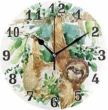 funnyy Watercolor Animal Sloth Print Round Acrylic