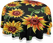 funnyy Watercolor Sunflower Leaves Round