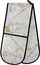 funnyy White Marble Gold Glitter Double Oven
