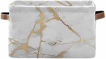 funnyy White Marble Gold Glitter Storage Basket