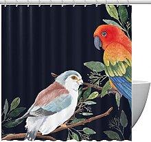 FURINKAZAN Bird Leaves Shower Curtain with Hooks