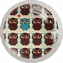 FURINKAZAN Cabinet Knob Pull Handle Owls in line