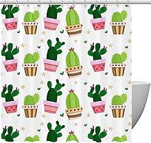FURINKAZAN Cactus Shower Curtain with Hooks