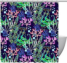 FURINKAZAN Colorful Coral Shower Curtain with