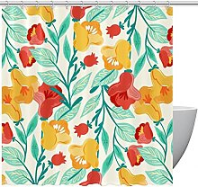 FURINKAZAN Floral Shower Curtain with Hooks