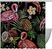 FURINKAZAN Pineapple & Flamingo Shower Curtain