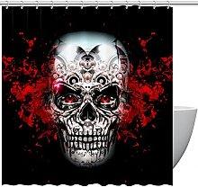 FURINKAZAN Skull Shower Curtain with Hooks