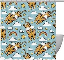 FURINKAZAN Tiger Design Shower Curtain with Hooks