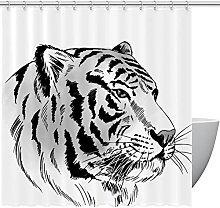 FURINKAZAN Tiger Shower Curtain with Hooks