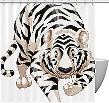 FURINKAZAN White Tiger Shower Curtain with Hooks