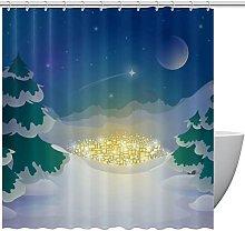 FURINKAZAN Winter Design Shower Curtain with Hooks