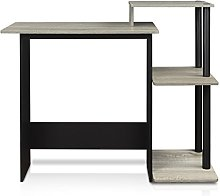 FURINNO Computer Desks, French Oak Grey/Black, one