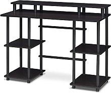 Furinno Computer Desks, Wood, Espresso/Black, one